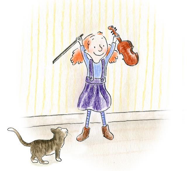 Matilda met poes en viool